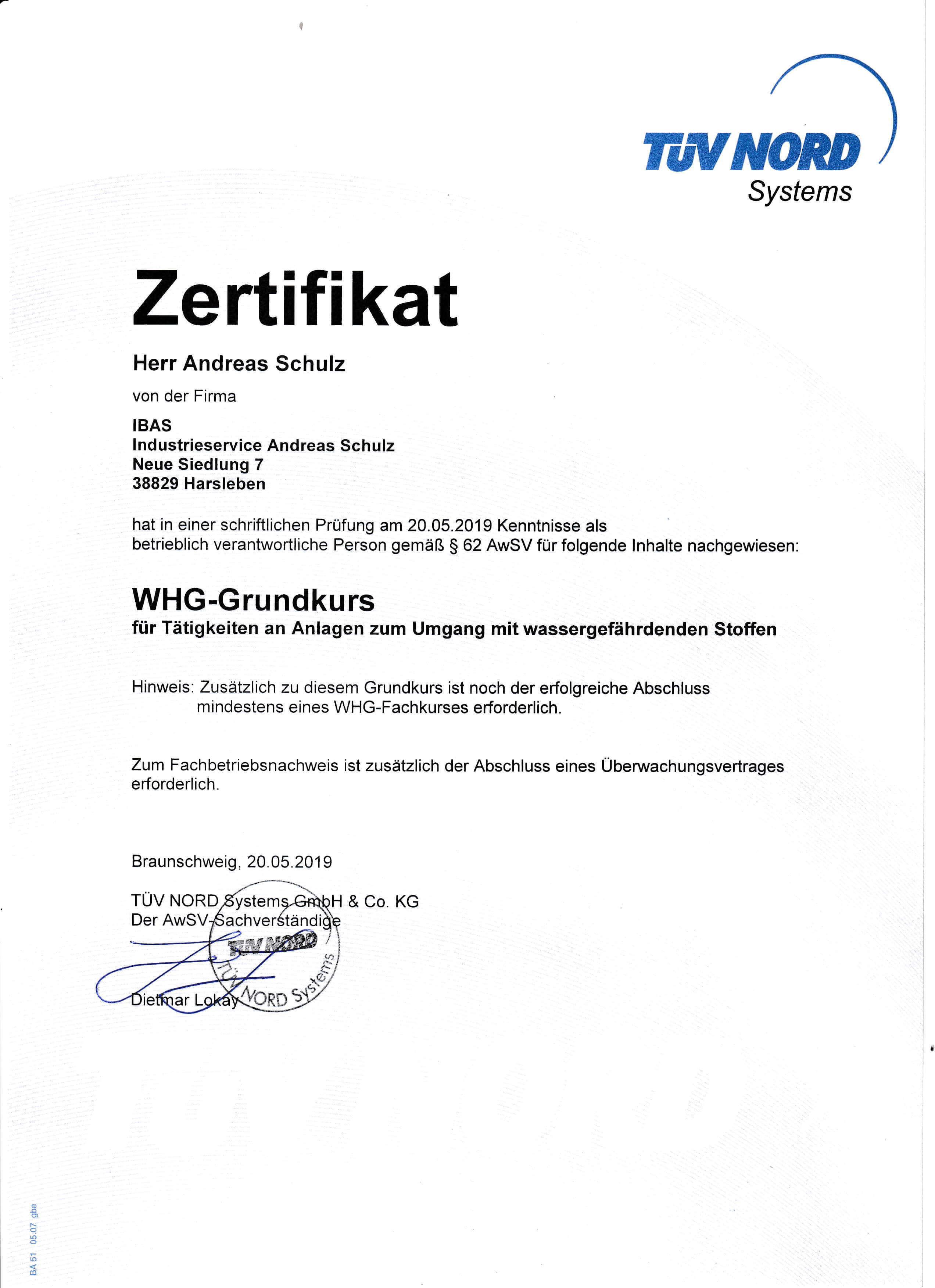 TÜV Nord Zertifikat über den Umgang mit wassergefährdenden Stoffen | IBAS Industrieberatung