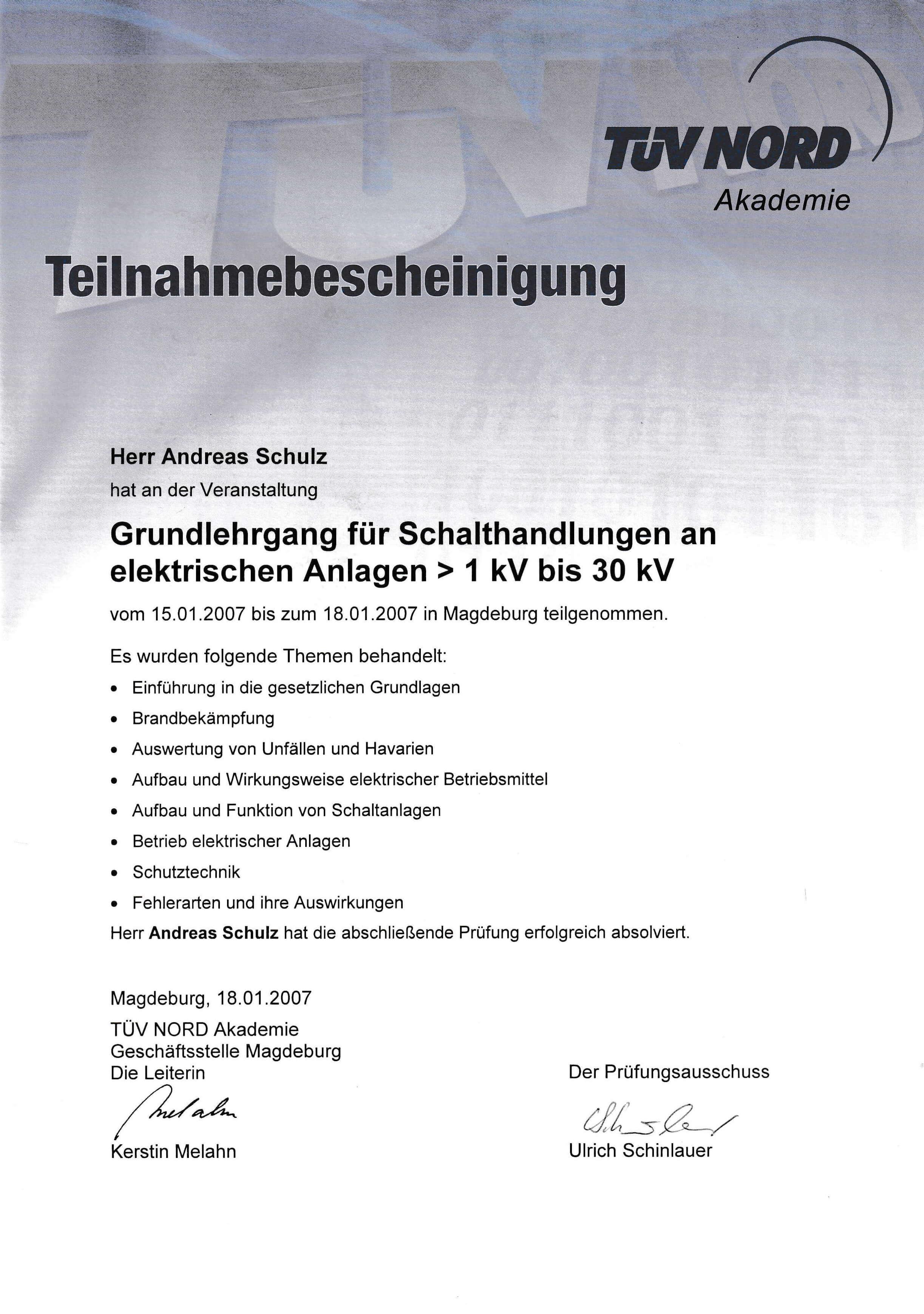 TÜV Nord Zertifikat über den Schalthandlungen an elektrischen Anlagen | IBAS Industrieberatung