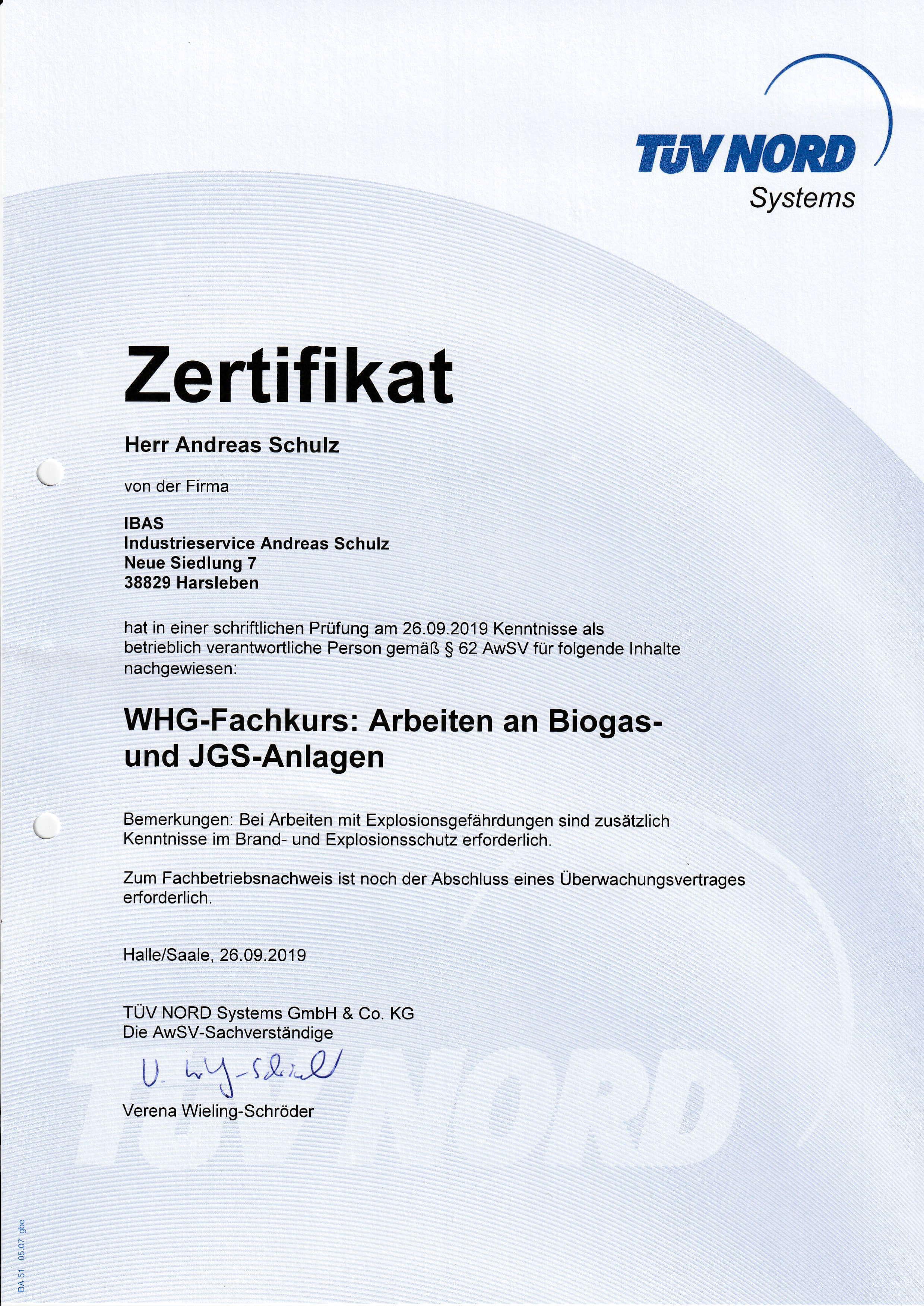 TÜV Nord Zertifikat über Arbeiten an Biogas- und JGS-Anlagen | IBAS Industrieberatung